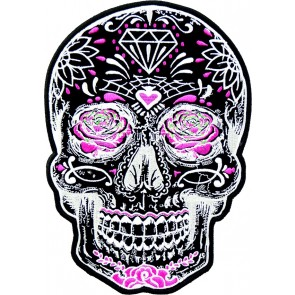 Black Sugar Skull With Pink Roses, Women's Back Patches