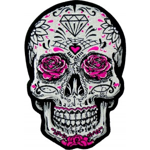 White Sugar Skull Pink Roses & Rhinestones, Women's Back Patches