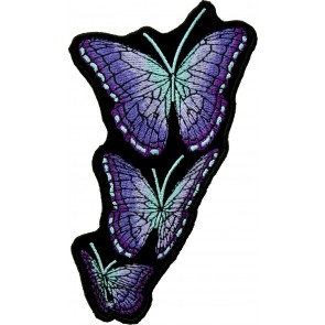 Embroidered Flying Purple Butterflies Right Patch