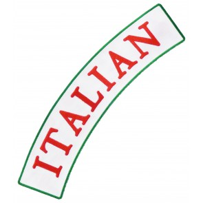 Italian White & Red Rocker Patch, Italian Rocker Patches