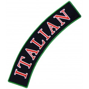 Italian Black & Red Rocker Patch, Italian Rocker Patches