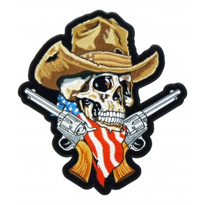 American Cowboy Skull With Guns Patch, Skull Back Patches