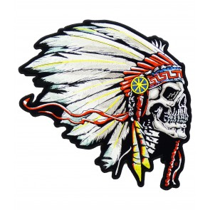 Feathered Indian Chief Skull Patch, Native American Patches