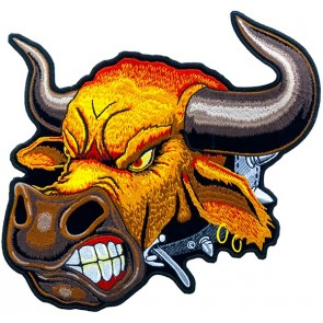Angry Bull Head Patch, Biker Back Patches