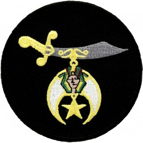 Shriners Symbol on a Black Round Embroidered Patch