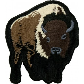 Dark Brown Buffalo With Horns Patch
