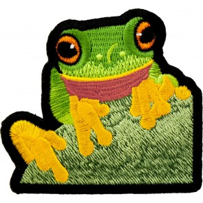 Tree Frog On A Leaf Patch, Exotic Frog Patches