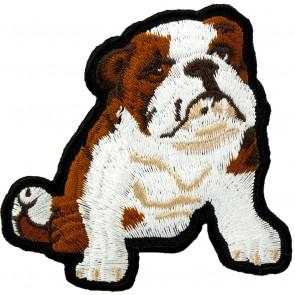 Sitting Bulldog Puppy Patch, English Bulldog Patches