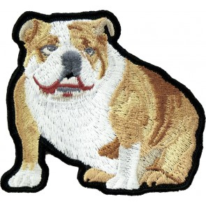 Tan & White English Bulldog Patch, Dog & Pet Patches