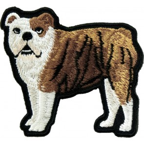 Brown & White Standing Bulldog Patch, English Bulldog Patches
