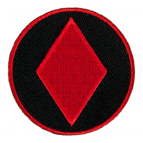 Red Diamond Symbol On Round Embroidered Patch