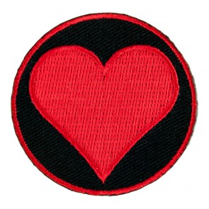 Red Heart Embroidered Sew On Round Patch