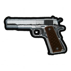 Handgun With Brown Grips Embroidered Gun Patches