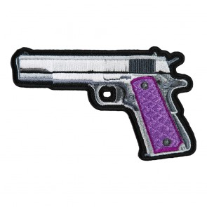 Sew On Handgun With Purple Grips Left Patch