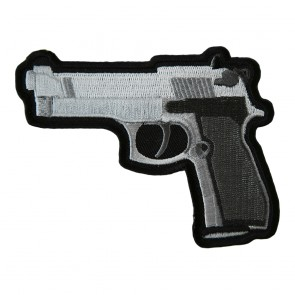 Handgun Dark Grey Grips Left Facing Embroidered Patch