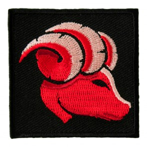 Embroidered Zodiac Aries Red Ram With Curled Horns Patch