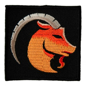 Zodiac Capricorn Orange Mountain Goat Embroidered Patch