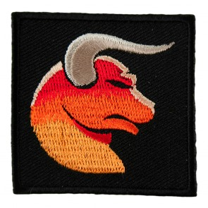 Zodiac Taurus Orange Bull With Horns Embroidered Patch