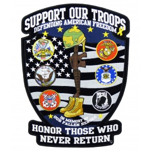 Support Our Troops Fallen Hero Shield Patch, Military Patches