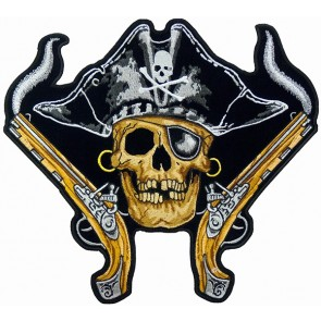 Pirate Skull Black Hat & Guns Patch, Pirate Back Patches