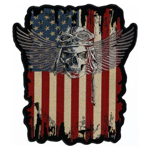 Winged Skull & Distressed American Flag Patch