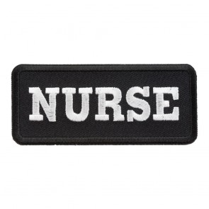 Embroidered Nurse Black & White Patch