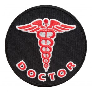 Embroidered Doctor Caduceus Red Patch