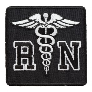 Embroidered Registered Nurse Caduceus Black & White Patch