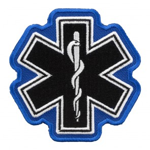 Star Of Life Black & White & Blue Patch