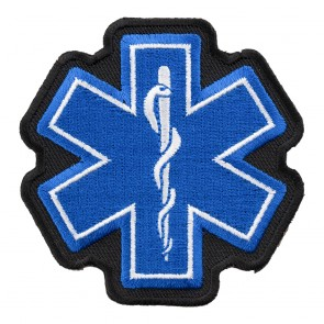 Embroidered Star Of Life Blue & White Patch,