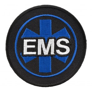 Black & Blue EMS Star Of Life Round Patch