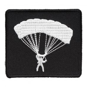 Embroidered Black & White Parachutist Silhouette Patch