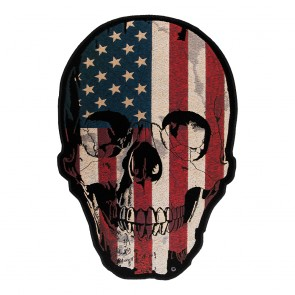 American Flag Distressed Skull Patch