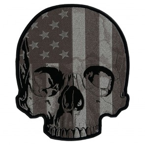 American Flag Half Skull Subdued Patch