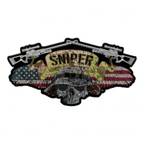Sniper Winged Skull American Flag Camouflage Patch