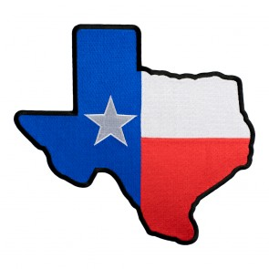 Embroidered Texas State Flag Map Black Patch