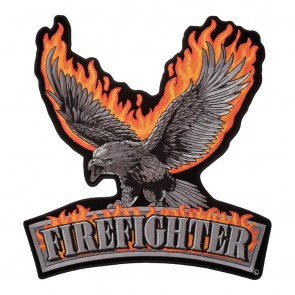 Embroidered Flaming Subdued Eagle Firefighter Patch