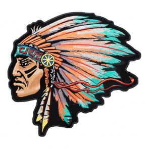 Embroidered Turquoise Native American Chief Patch