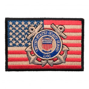 American Flag Coast Guard Heat Seal Patch