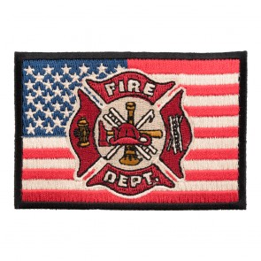 American Flag Firefighter Maltese Iron On Patch