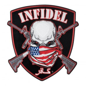 American Infidel Skull and Shield Iron On Patch