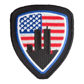 Embroidered American Flag World Trade Center Shield Patch