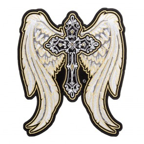 Sew On Golden Angelic Wings & Cross Patch Lg