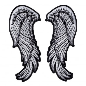 Subdued Split White Embroidered Angel Wings Patch