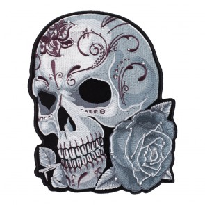 Embroidered Diamond Studs Grey Sugar Skull & Rose Patch
