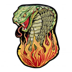 Sew On Hissing Flaming Cobra Head Patches for Sale