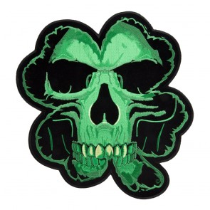 Embroidered Green Celtic Shamrock Skull Patch
