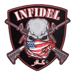 Embroidered American Infidel Skull and Shield Patch Sm