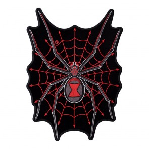 Velvety Black Widow Red Spider Web Large Patch