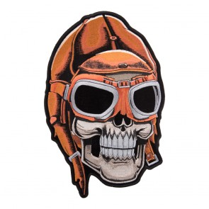 Embroidered Aviator Skull Helmet & Goggles Patch